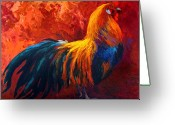 Rooster Painting Greeting Cards - Strutting His Stuff - Rooster Greeting Card by Marion Rose