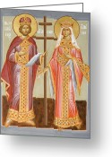 Julia Bridget Hayes Greeting Cards - Sts Constantine and Helen Greeting Card by Julia Bridget Hayes