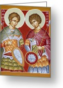 Martyrs Painting Greeting Cards - Sts Dimitrios and George Greeting Card by Julia Bridget Hayes