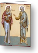 Byzantine Icon Greeting Cards - Sts Joachim and Anna Greeting Card by Julia Bridget Hayes