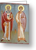 Byzantine Icon Greeting Cards - Sts Niphon and Evplos Greeting Card by Julia Bridget Hayes