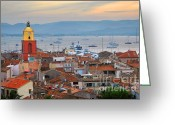 Rooftops Greeting Cards - St.Tropez at sunset Greeting Card by Elena Elisseeva