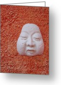 Peering Greeting Cards - Stucco Face Greeting Card by Ellen Henneke