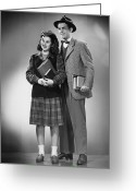 Plaid Skirt Greeting Cards - Student Couple Posing In Studio, (b&w), Portrait Greeting Card by George Marks