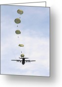 Freight Greeting Cards - Students Jump From A C-130 Hercules Greeting Card by Stocktrek Images