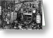 Artist In Residence Drawings Greeting Cards - Studio Kitchen Greeting Card by Al Goldfarb
