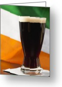 Stout Greeting Cards - Studio Shot Of Glass Of Stout Beer With Irish Flag Greeting Card by Vstock LLC