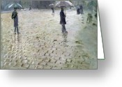 Raining Greeting Cards - Study for a Paris Street Rainy Day Greeting Card by Gustave Caillebotte