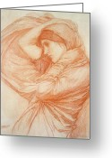 Sketch Drawings Greeting Cards - Study for Boreas Greeting Card by John William Waterhouse
