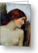 Preraphaelite Greeting Cards - Study for the Head of Echo Greeting Card by John William Waterhouse