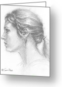 Residential Drawings Greeting Cards - Study in Profile Greeting Card by Sarah Parks