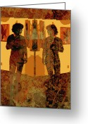 Mixed Media Photo Greeting Cards - Study in Yellow Greeting Card by Ann Powell