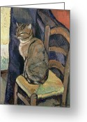 1918 Greeting Cards - Study of A Cat Greeting Card by Suzanne Valadon