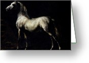 Stable Greeting Cards - Study of a Dapple Grey Greeting Card by Theodore Gericault