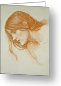Hair Drawing Greeting Cards - Study of a Girls Head Greeting Card by John William Waterhouse
