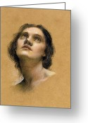 Chalk Pastels Greeting Cards - Study of a head Greeting Card by Evelyn De Morgan