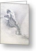 Male Pastels Greeting Cards - Study of a male nude Greeting Card by  Giambattista Piazzetta 