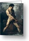 Men Greeting Cards - Study of a Male Nude Greeting Card by Theodore Gericault