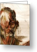 Male Pastels Greeting Cards - Study of a Mans Face Greeting Card by David Finley