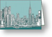 Framed Drawings Greeting Cards - Study of New York City in Turquoise  Greeting Card by Lee-Ann Adendorff
