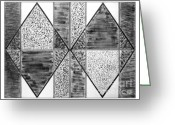 Charcoal Greeting Cards - Study of Texture Line and Materials Greeting Card by Peter Piatt