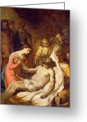 Mourner Greeting Cards - Study of the Lamentation on the Dead Christ Greeting Card by Benjamin West