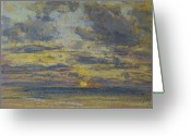 Landscapes Pastels Greeting Cards - Study of the Sky with Setting Sun Greeting Card by Eugene Louis Boudin