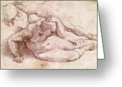 Masterpiece Painting Greeting Cards - Study of Three Male Figures Greeting Card by Michelangelo