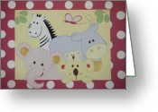 Childrens Artwork Drawings Greeting Cards - Stuffed Animals Greeting Card by Valerie Chiasson-Carpenter