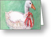 Goose Drawings Greeting Cards - Stuffed Goose Greeting Card by Arline Wagner