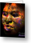 Expressing Greeting Cards - Stunning African Mask  Greeting Card by Alexandra Jordankova