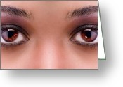 African American Female Greeting Cards - Stunning Eyes Greeting Card by Val Black Russian Tourchin