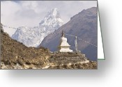 Ama Greeting Cards - Stupa In Front Of Mt Ama Dablam, Solu Khumbu (everest) Region, Himalaya, Nepal, South Asia Greeting Card by Ben Pipe Photography