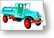 Tanker Greeting Cards - Sturdi Sprinkler Truck Greeting Card by Glenda Zuckerman