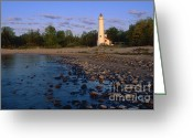 Great Point Greeting Cards - Sturgeon Point Lighthouse - FS000119 Greeting Card by Daniel Dempster