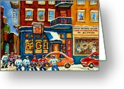 Hockey Street Scenes In Montreal Greeting Cards - St.viateur Bagel Hockey Montreal Greeting Card by Carole Spandau