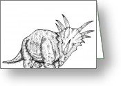 Addison Greeting Cards - Styracosaurus Greeting Card by Karl Addison