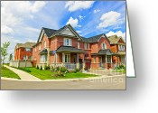 Residential Photo Greeting Cards - Suburban homes Greeting Card by Elena Elisseeva