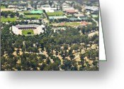 Outskirts Greeting Cards - Suburban Sports Stadium Greeting Card by Eddy Joaquim