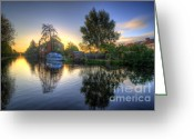 Sunset Framed Prints Greeting Cards - Suburban Sunrise 2.0 Greeting Card by Yhun Suarez
