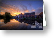 Sunset Framed Prints Greeting Cards - Suburban Sunrise 5.0 Greeting Card by Yhun Suarez