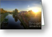 Sunset Framed Prints Greeting Cards - Suburban Sunrise 6.0 Greeting Card by Yhun Suarez
