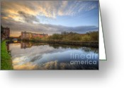 Sunset Framed Prints Greeting Cards - Suburban Sunrise Reflection  Greeting Card by Yhun Suarez