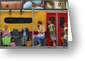 Crayons Greeting Cards - Subway - Lonely Travellers Greeting Card by Anne Klar