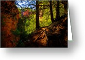 Pine Tree Greeting Cards - Subway Forest Greeting Card by Chad Dutson