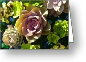 Cactus Flower Digital Art Greeting Cards - Succulent Pond 3 Greeting Card by Amy Vangsgard