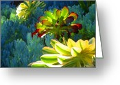 Cactus Flower Digital Art Greeting Cards - Succulents Backlit on Blue 2 Greeting Card by Amy Vangsgard