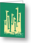 Giraffe Greeting Cards - Such a great height Greeting Card by Budi Satria Kwan