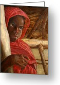 Ethnic Painting Greeting Cards - Sudanese Girl Greeting Card by Enzie Shahmiri