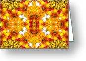 Yantra Greeting Cards - Sudden Heat Mandala Greeting Card by Zeana Romanovna